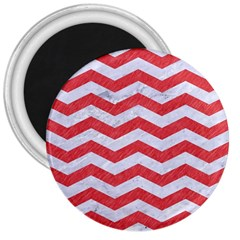 Chevron3 White Marble & Red Colored Pencil 3  Magnets by trendistuff