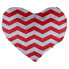 Chevron3 White Marble & Red Colored Pencil Large 19  Premium Heart Shape Cushions by trendistuff
