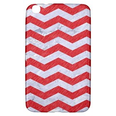 Chevron3 White Marble & Red Colored Pencil Samsung Galaxy Tab 3 (8 ) T3100 Hardshell Case  by trendistuff