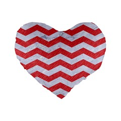 Chevron3 White Marble & Red Colored Pencil Standard 16  Premium Flano Heart Shape Cushions by trendistuff