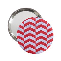 Chevron2 White Marble & Red Colored Pencil 2 25  Handbag Mirrors by trendistuff