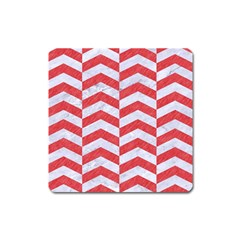 Chevron2 White Marble & Red Colored Pencil Square Magnet by trendistuff
