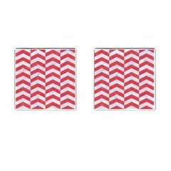 Chevron2 White Marble & Red Colored Pencil Cufflinks (square) by trendistuff