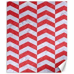 Chevron2 White Marble & Red Colored Pencil Canvas 20  X 24