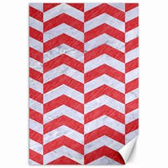 Chevron2 White Marble & Red Colored Pencil Canvas 20  X 30   by trendistuff