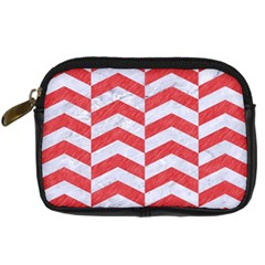 Chevron2 White Marble & Red Colored Pencil Digital Camera Cases by trendistuff