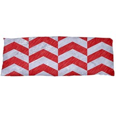 Chevron2 White Marble & Red Colored Pencil Body Pillow Case Dakimakura (two Sides) by trendistuff