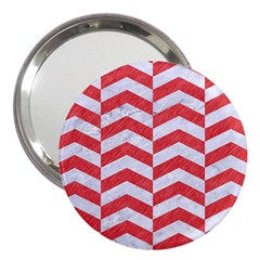 Chevron2 White Marble & Red Colored Pencil 3  Handbag Mirrors by trendistuff