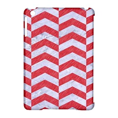 Chevron2 White Marble & Red Colored Pencil Apple Ipad Mini Hardshell Case (compatible With Smart Cover) by trendistuff