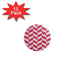 Chevron1 White Marble & Red Colored Pencil 1  Mini Magnet (10 Pack)