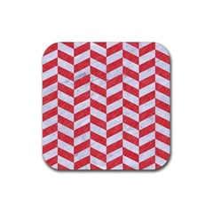 Chevron1 White Marble & Red Colored Pencil Rubber Coaster (square)