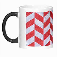 Chevron1 White Marble & Red Colored Pencil Morph Mugs by trendistuff