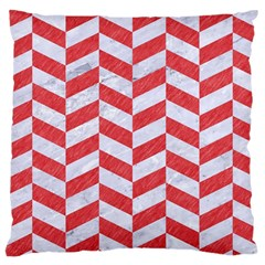 Chevron1 White Marble & Red Colored Pencil Large Cushion Case (one Side) by trendistuff