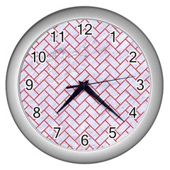 Brick2 White Marble & Red Colored Pencil (r) Wall Clocks (silver)  by trendistuff