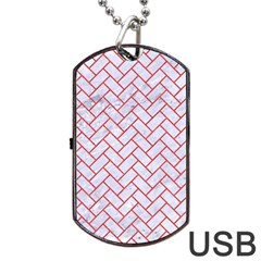 Brick2 White Marble & Red Colored Pencil (r) Dog Tag Usb Flash (two Sides) by trendistuff
