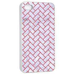 Brick2 White Marble & Red Colored Pencil (r) Apple Iphone 4/4s Seamless Case (white) by trendistuff