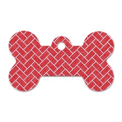 Brick2 White Marble & Red Colored Pencil Dog Tag Bone (two Sides)