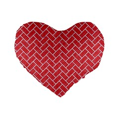 Brick2 White Marble & Red Colored Pencil Standard 16  Premium Flano Heart Shape Cushions by trendistuff