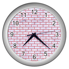 Brick1 White Marble & Red Colored Pencil (r) Wall Clocks (silver)  by trendistuff