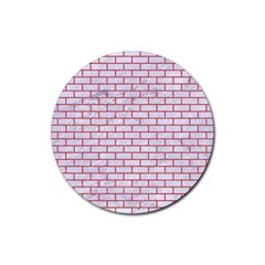 Brick1 White Marble & Red Colored Pencil (r) Rubber Round Coaster (4 Pack)  by trendistuff