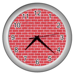 Brick1 White Marble & Red Colored Pencil Wall Clocks (silver)  by trendistuff