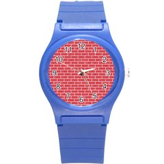 Brick1 White Marble & Red Colored Pencil Round Plastic Sport Watch (s) by trendistuff