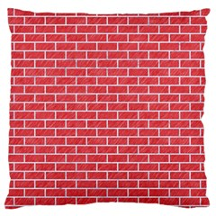 Brick1 White Marble & Red Colored Pencil Large Flano Cushion Case (one Side) by trendistuff