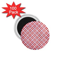 Woven2 White Marble & Red Brushed Metal (r) 1 75  Magnets (100 Pack)