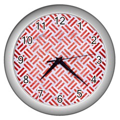 Woven2 White Marble & Red Brushed Metal (r) Wall Clocks (silver)  by trendistuff