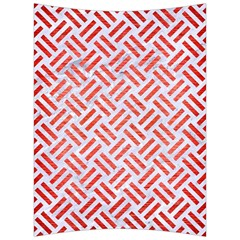 Woven2 White Marble & Red Brushed Metal (r) Back Support Cushion by trendistuff