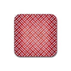 Woven2 White Marble & Red Brushed Metal Rubber Coaster (square)