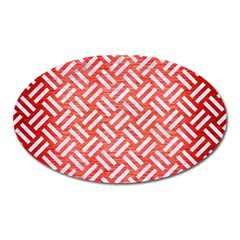 Woven2 White Marble & Red Brushed Metal Oval Magnet by trendistuff
