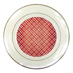 Woven2 White Marble & Red Brushed Metal Porcelain Plates by trendistuff