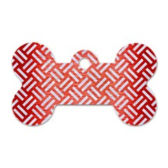 Woven2 White Marble & Red Brushed Metal Dog Tag Bone (one Side) by trendistuff