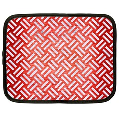 Woven2 White Marble & Red Brushed Metal Netbook Case (large) by trendistuff