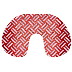 Woven2 White Marble & Red Brushed Metal Travel Neck Pillows by trendistuff