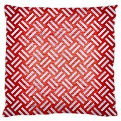 Woven2 White Marble & Red Brushed Metal Large Flano Cushion Case (one Side) by trendistuff