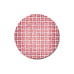 Woven1 White Marble & Red Brushed Metal (r) Magnet 3  (round) by trendistuff