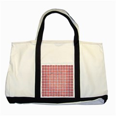 Woven1 White Marble & Red Brushed Metal (r) Two Tone Tote Bag