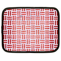 Woven1 White Marble & Red Brushed Metal (r) Netbook Case (large) by trendistuff