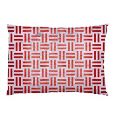 Woven1 White Marble & Red Brushed Metal (r) Pillow Case by trendistuff
