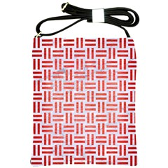 Woven1 White Marble & Red Brushed Metal (r) Shoulder Sling Bags by trendistuff