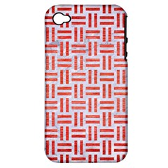 Woven1 White Marble & Red Brushed Metal (r) Apple Iphone 4/4s Hardshell Case (pc+silicone) by trendistuff