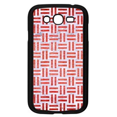 Woven1 White Marble & Red Brushed Metal (r) Samsung Galaxy Grand Duos I9082 Case (black) by trendistuff