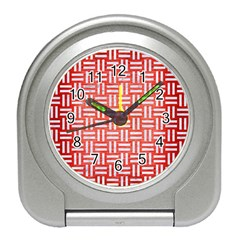 Woven1 White Marble & Red Brushed Metal Travel Alarm Clocks by trendistuff