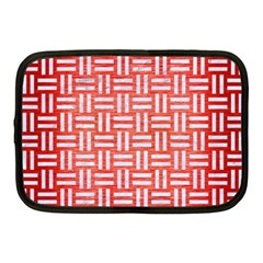 Woven1 White Marble & Red Brushed Metal Netbook Case (medium)  by trendistuff