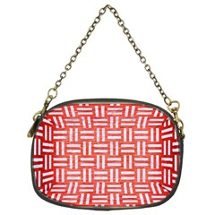 Woven1 White Marble & Red Brushed Metal Chain Purses (two Sides)  by trendistuff