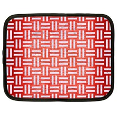 Woven1 White Marble & Red Brushed Metal Netbook Case (xxl)  by trendistuff