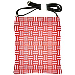 Woven1 White Marble & Red Brushed Metal Shoulder Sling Bags by trendistuff