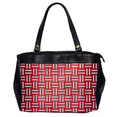 Woven1 White Marble & Red Brushed Metal Office Handbags by trendistuff